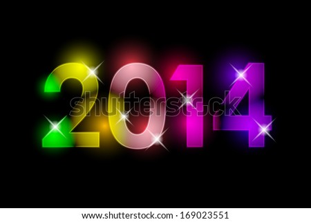 Happy New Year - 2014 colorful background - stock photo