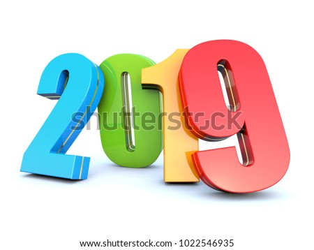 Happy New Year 2019 colorful calendar background 3D render