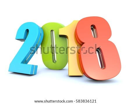Happy New Year 2018 colorful calendar background 3D render