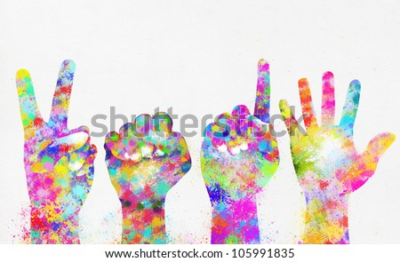 Happy new year 2015 ,colorful painting of hands - stock photo