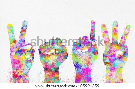 Happy new year 2013 ,colorful painting of hands - stock photo