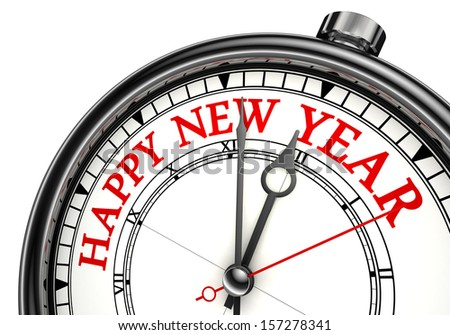 happy new year concept clock. clipping path included