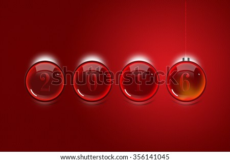 Happy New Year 2016 Concept, Glossy Magic Balls on Red Background.