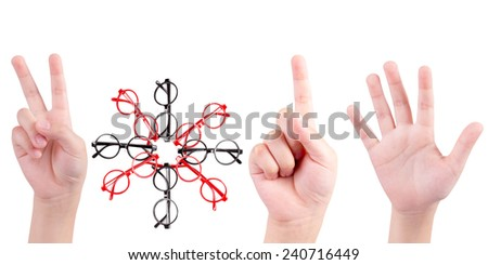 Happy New Year 2015 Concept : human hand and glasses isolated on white background - stock photo