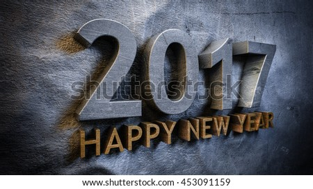 Happy new year 2017 concept in 3d - stock photo