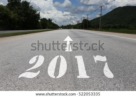 happy new year concept of road heading to 2017
