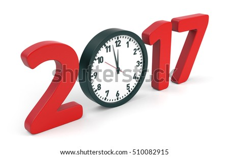 Happy New Year 2017 concept with clock, isolated on white background. 3D rendering