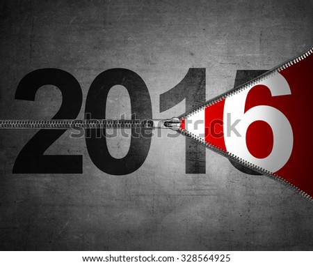 Happy new year concept. 2015 year change just unzip to 2016 - stock photo