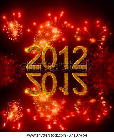 Happy new year 2012, congratulation in english - stock photo