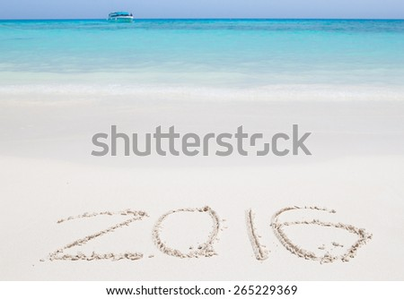 Happy new year 2016 creative on beach : Simialan island, Phang-nga, Thailand