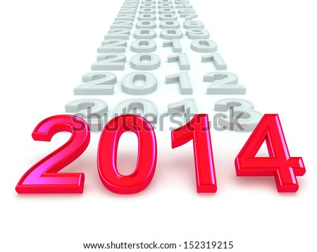 Happy New Year 2014. 3d - stock photo