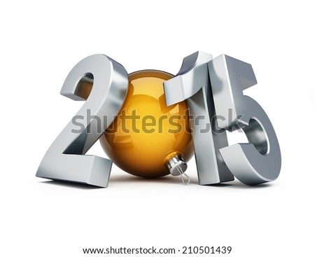 happy new year 2015 3d Illustrations on a white background  - stock photo