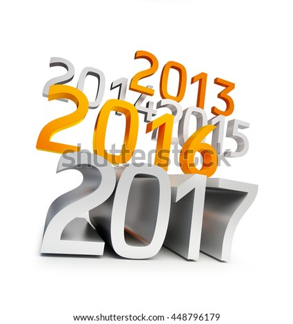 happy new year 2017. 3d Illustrations on a white background - stock photo
