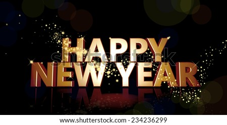 Happy New Year 3d image - stock photo