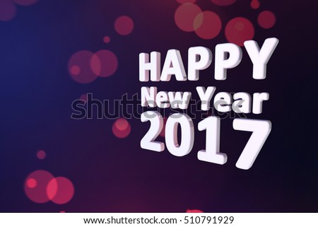 happy new year 2017 3d text with dark blue background