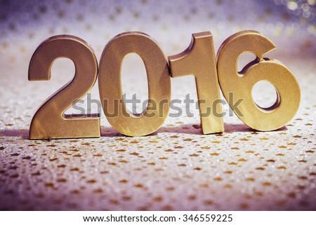 happy new year 2016 decoration close up - stock photo