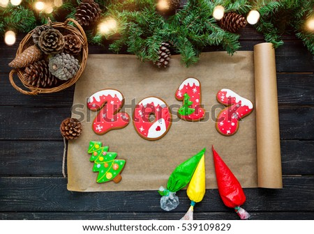 Happy New Year 2017. Decorative painting handmade gingerbread.