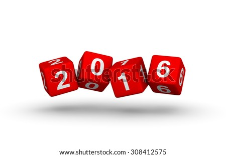 Happy New Year 2016. Falling cubes. - stock photo
