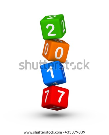 Happy New Year 2017. Falling cubes. 3d illustration - stock photo