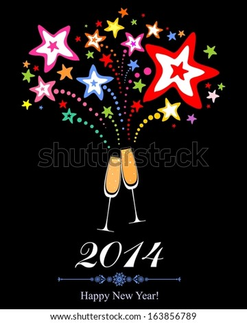 Happy new year 2014! Firework and Two Glasses in black background. VIllustration  - stock photo