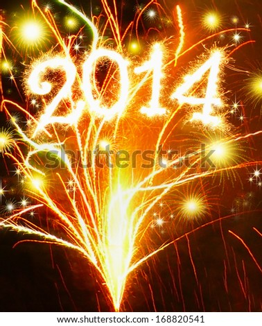 Happy New Year 2014 Fireworks .  - stock photo