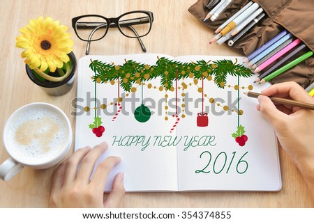 Happy New year 2016 for greeting people. - stock photo