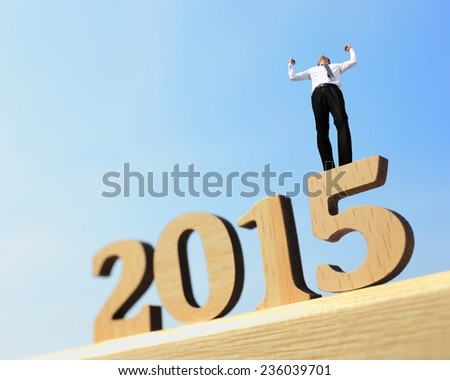 Happy new year for 2015 - success business man arise arm in the air cheering and celebrating on wood number - stock photo