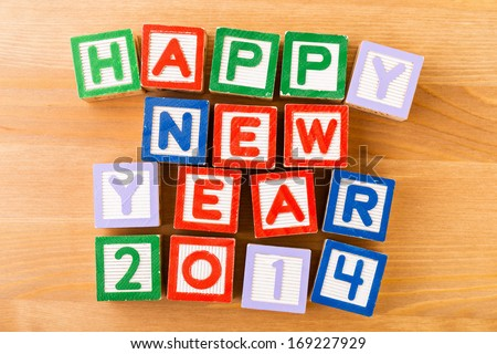 Happy new year for 2014 toy block