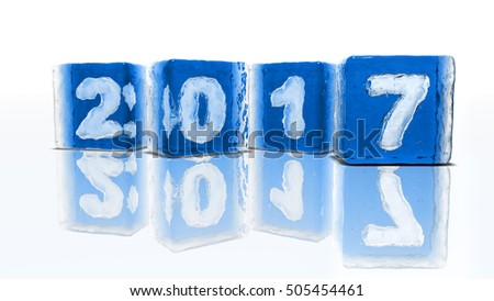 Happy New Year 2017 !!! Four blocks of rough blue ice on white background with frozen-in bubbles in the form of numbers 2, 0, 1 and 7