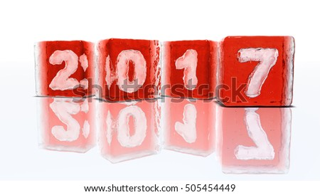 Happy New Year 2017 !!! Four blocks of rough red ice on white background with frozen-in bubbles in the form of numbers 2, 0, 1 and 7