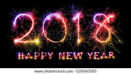 Happy New Year 2018 from colorful sparkle on black background