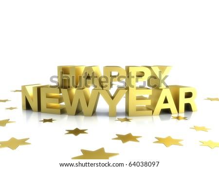 Happy new year 2011 gold illustration on white - stock photo