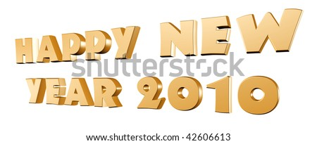 Happy New Year 2010 - gold text, 3d render isolated over white - stock photo