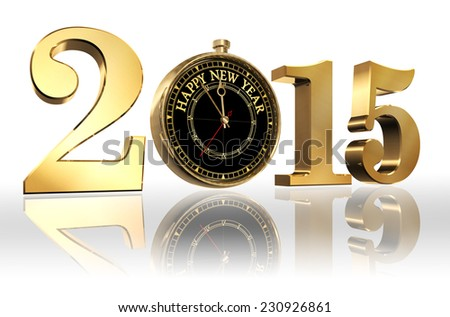 happy new year 2015 golden number and clock on white background - stock photo