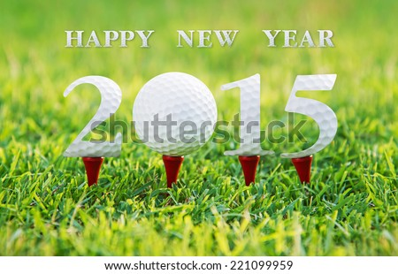 Happy new year 2015, Golf sport conceptual image  - stock photo