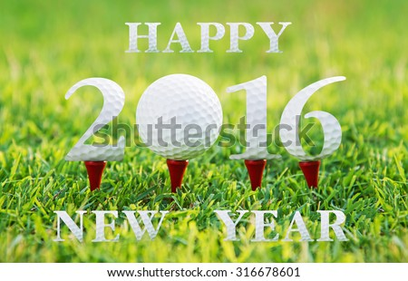 Happy new year 2016, Golf sport conceptual image. - stock photo