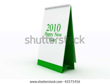Happy new year 2010 green calendar - stock photo
