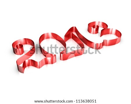 Happy New Year 2013 greeting card. 3d illustration ribbons on a white background - stock photo