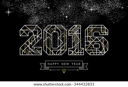 Happy New Year greeting card design in art deco outline style, gold and white 2016 sign with hipster label. Ideal for poster, holiday campaign or web. - stock photo