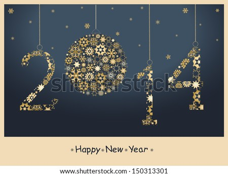 Happy New Year greeting card from golden snowflakes.  2014 Year - stock photo