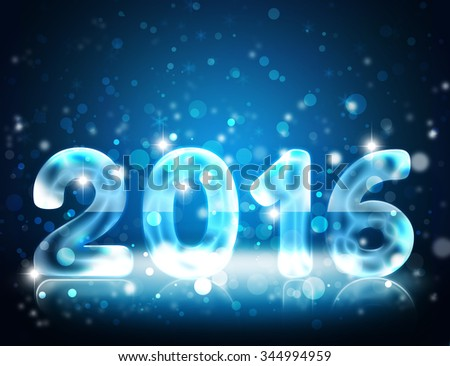 Happy New Year 2016 greeting card. New Year decoration wallpaper. Transparent 2016 number made of sparkling ice with reflection. Blue elegant bokeh background with sparkles and star dust.