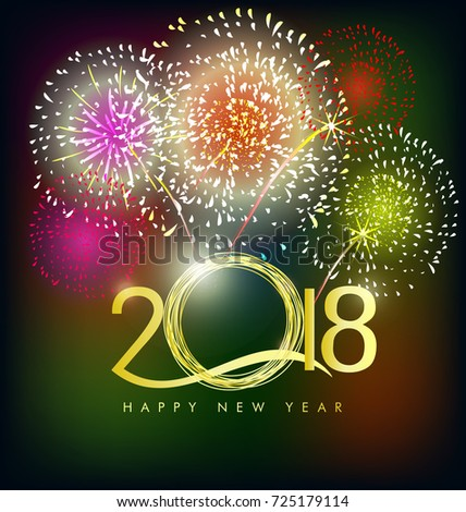 Happy new year 2018 greeting card stock illustration 725179114 happy new year 2018 greeting card with fireworks and flowers background m4hsunfo