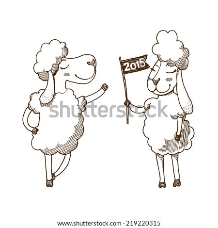 Happy New Year 2015 Greeting Card with sketched sheep.