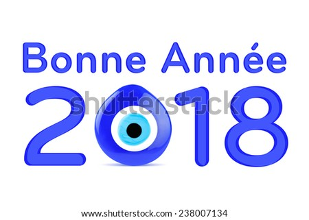 Happy new year 2018 greeting french stock illustration 238007134 happy new year 2018 greeting in french language blue number and evil eye on the white m4hsunfo