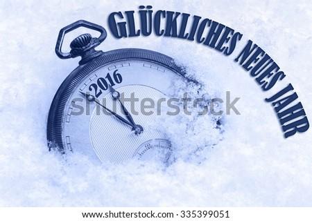 Happy New Year 2016 greeting in German language, Gluckliches neues Jahr text, pocket watch in snow - stock photo