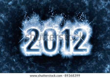 Happy New Year greeting with effect of magic spell, blue energy flames wrapping around digits 2012 in the dark