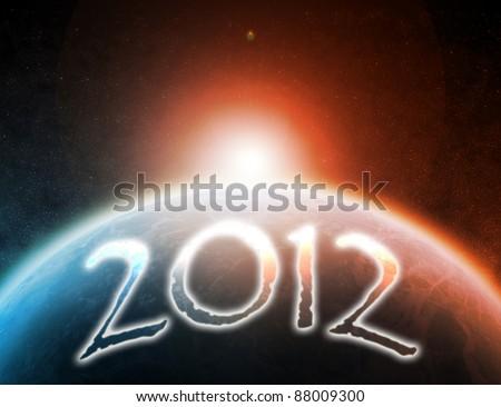 Happy New Year 2012, Happy Apocalypse - stock photo
