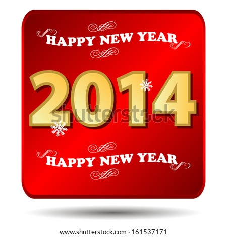 Happy new year 2014 icon on a white background
