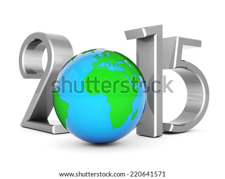 happy new year 2015 Illustrations 3d on a white background