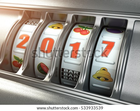 Happy New Year 2017 in casino. Slot machine with number 2017. 3d illustration